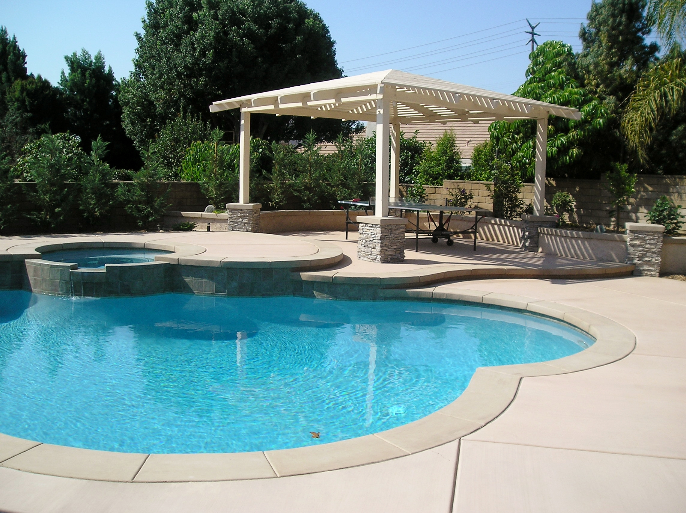 freestanding patio cover and pool with poured in place concrete coping