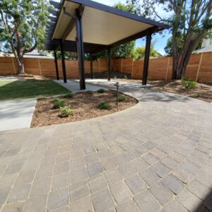 free standing patio cover and paver walkway