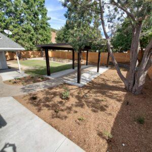 drought tolerant landscape with patio cover